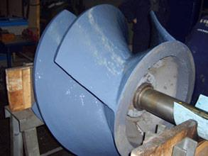 Completed repair following coating of the impeller for improved performance and erosion protection